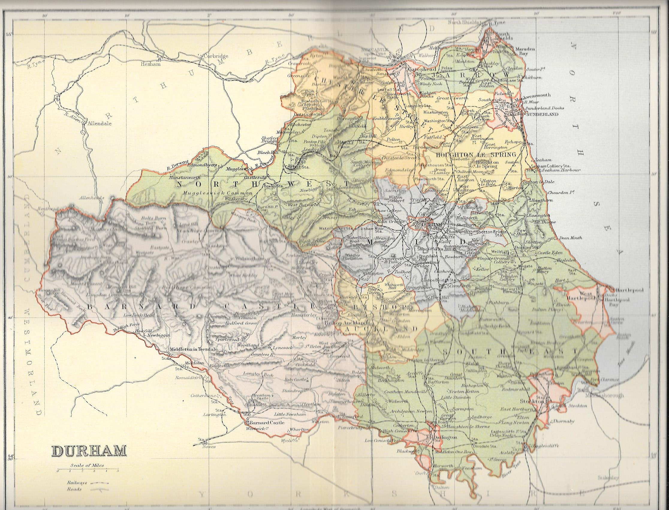 Map Of England Durham.Durham Antique Map
