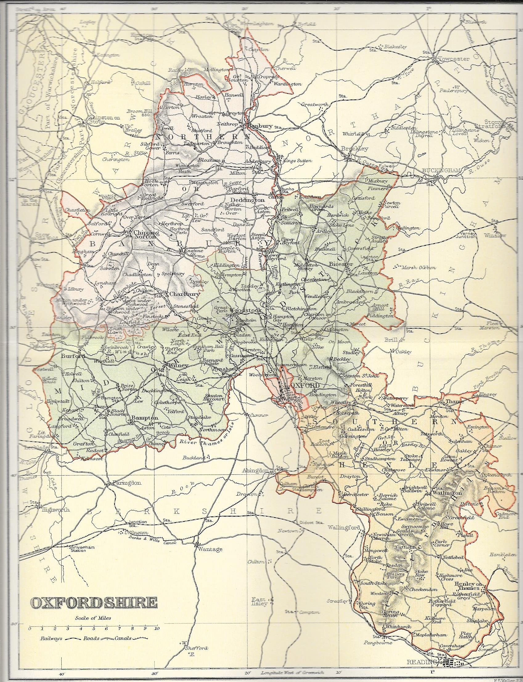 Oxfordshire Antique Map Frontispiece