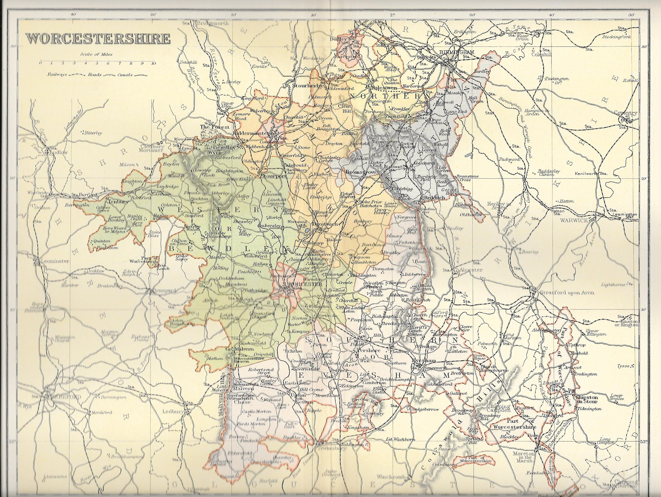 Worcestershire Antique Map Frontispiece