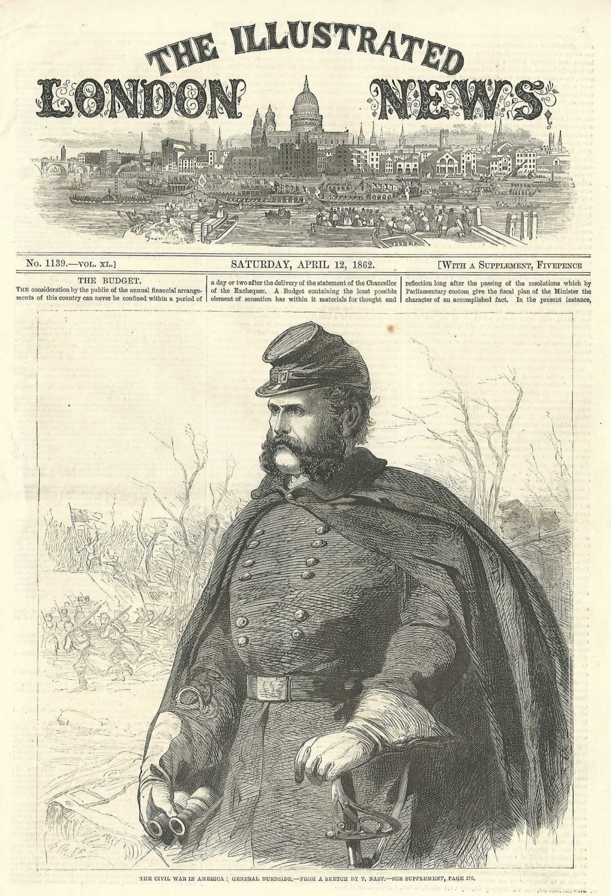 1862 Dated Antique Print Ambrose Burnside Union Army General American Civil War Selected Material Art