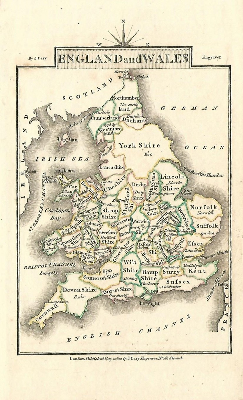 Map Of England Wales.England Wales Antique Map By Georgian Cartographer John Cary 1812
