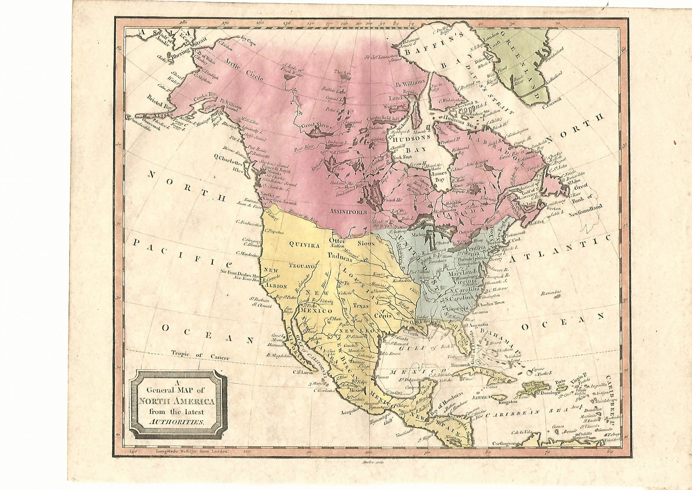 America Antique Map 1815 Canada United States Mexico Caribbean