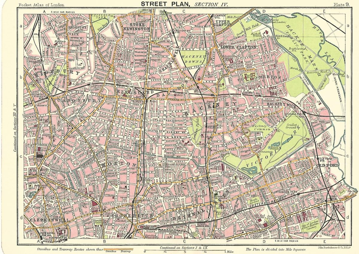 Sections Of London Map.Victoria Park Hackney Tower Hamlets Antique Map Published 1914