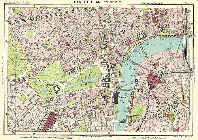 Map 1914.Westminster Lambeth Antique Map 1914