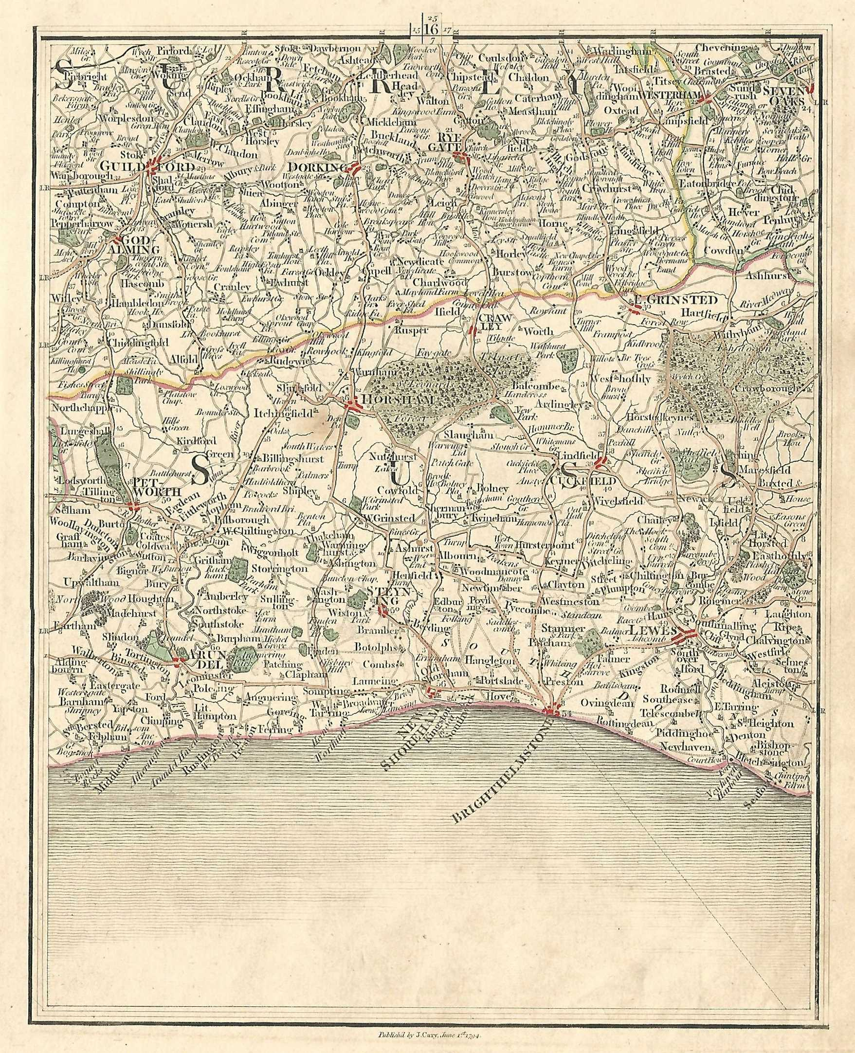 Sussex Surrey Georgian Antique Map Published 1794 By John Cary