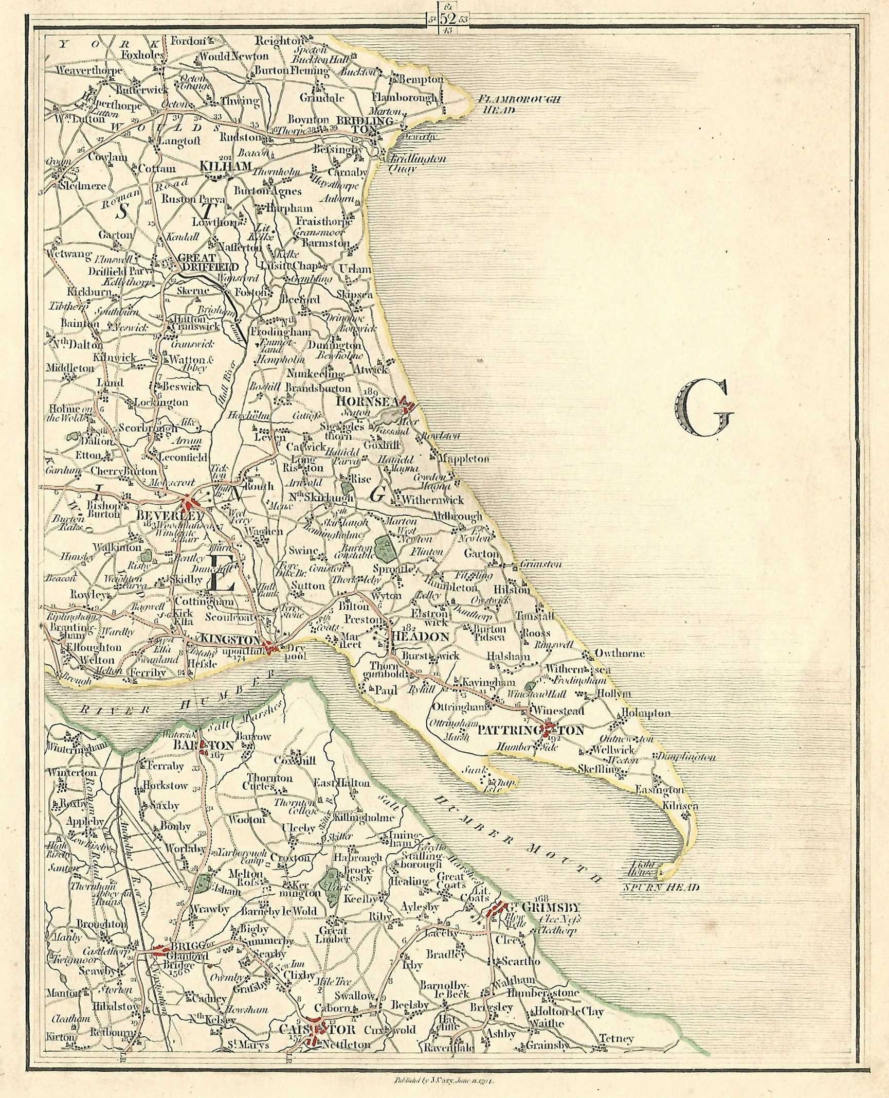 Map Of England Lincolnshire.Yorkshire Antique Map East Riding Lincolnshire By Cartographer John Cary Published 1794