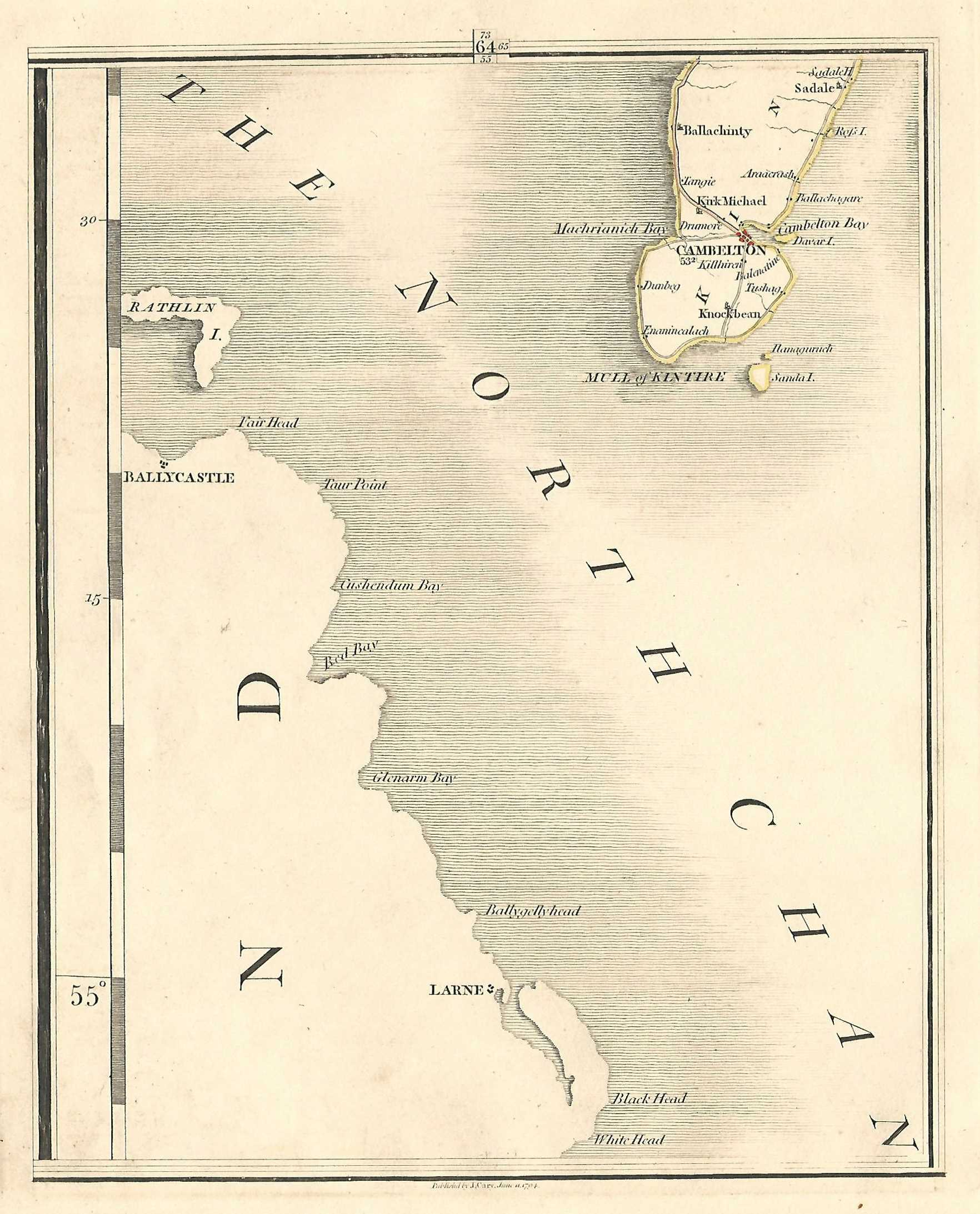 Campbeltown Scotland Map.Campbeltown Mull Of Kintyre Argyll And Bute Scotland Antique Map