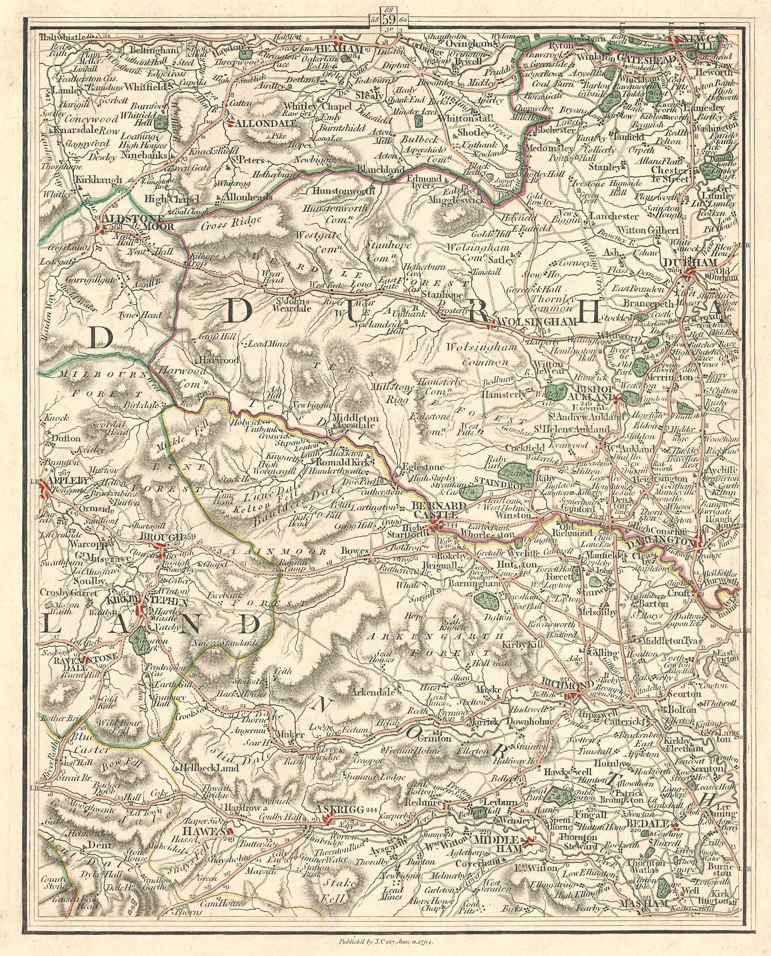Map Of England Durham.Durham Antique Map Includes Yorkshire Northumberland Westmorland 1794