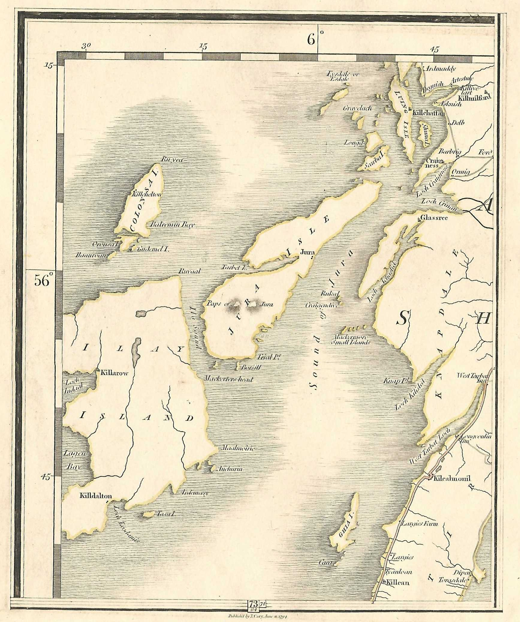 Mexico Map 1794.Jura Islay Colonsay Inner Hebrides Scotland Antique Map Published By