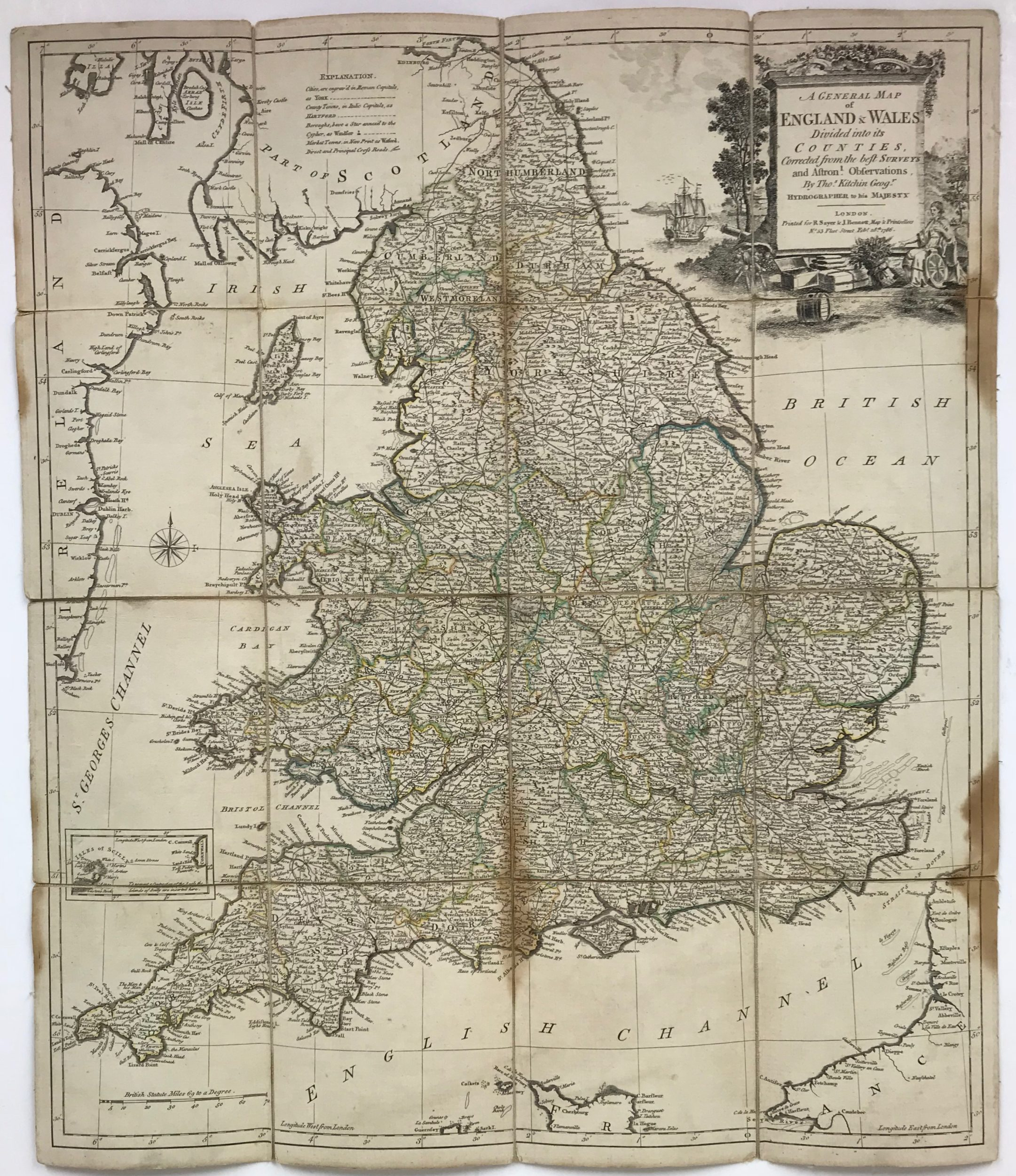 Map Of England And Wales.England Wales Antique Map By Thomas Kitchin 1786 Frontispiece
