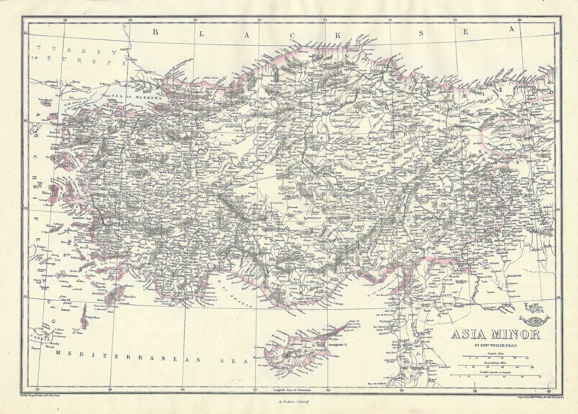 Map Of Asia Minor.Asia Minor Turkey Cyprus Antique Map Dated 1863