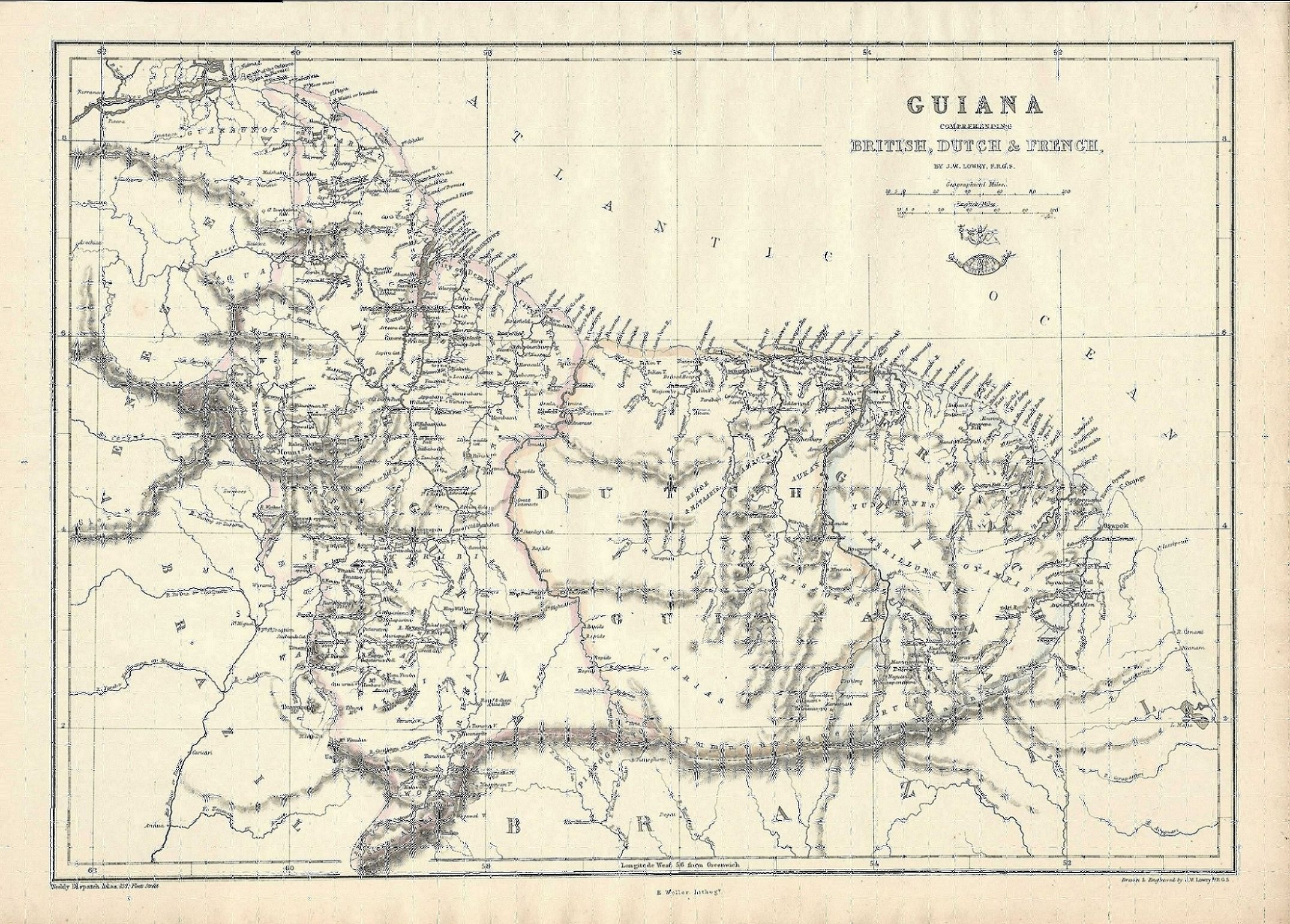 Guyana antique map Weekly Dispatch Atlas 1863 on