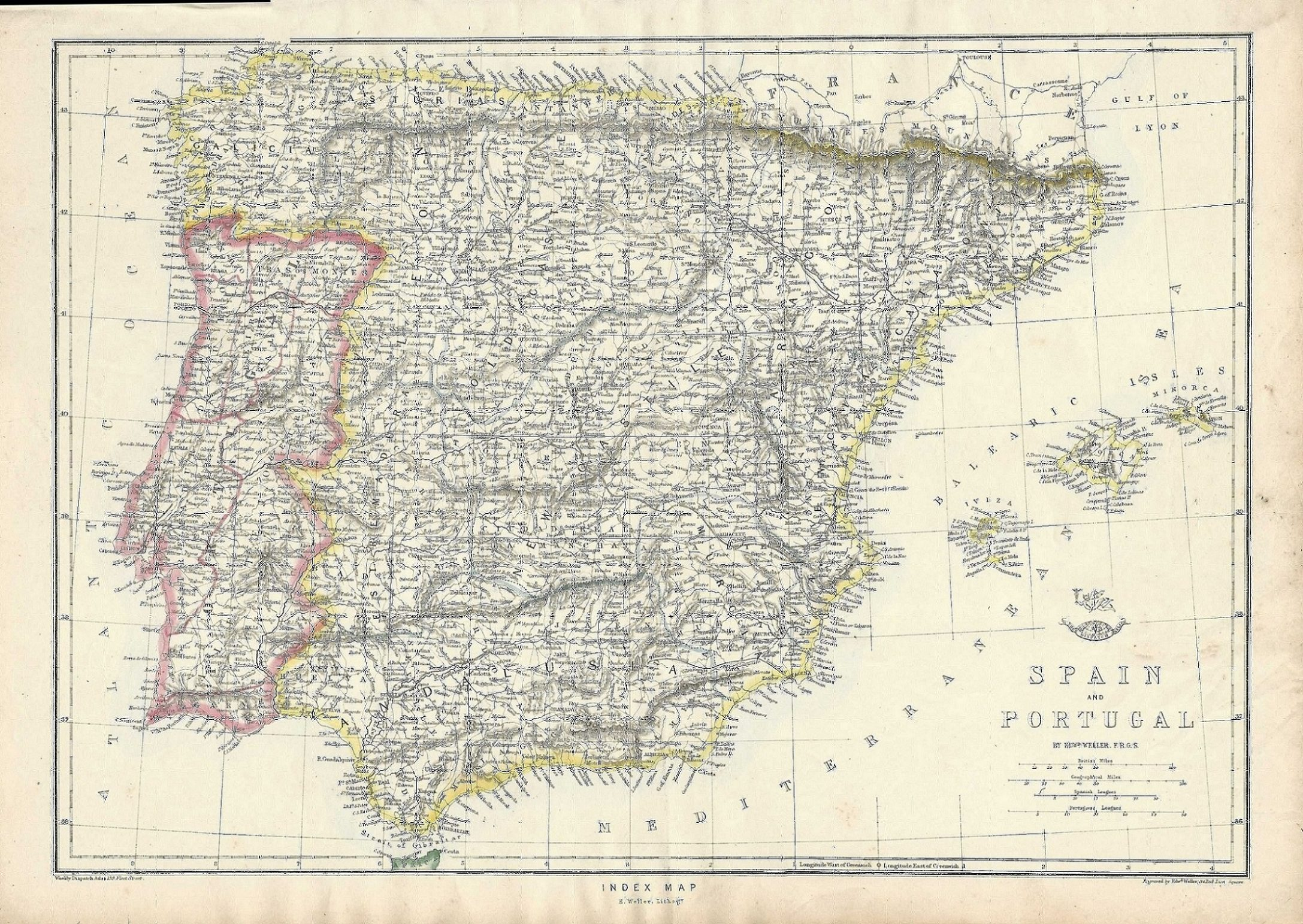 Map Of Portugal Spain.Spain Portugal Iberian Peninsula Antique Map 1863 Frontispiece