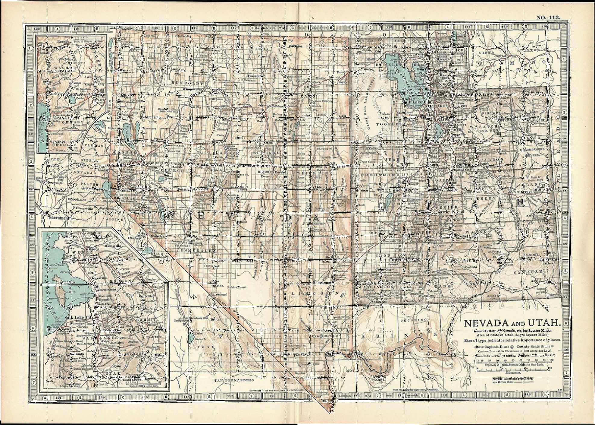 Nevada Utah Antique Map Encyclopedia Britannica 1903 Frontispiece