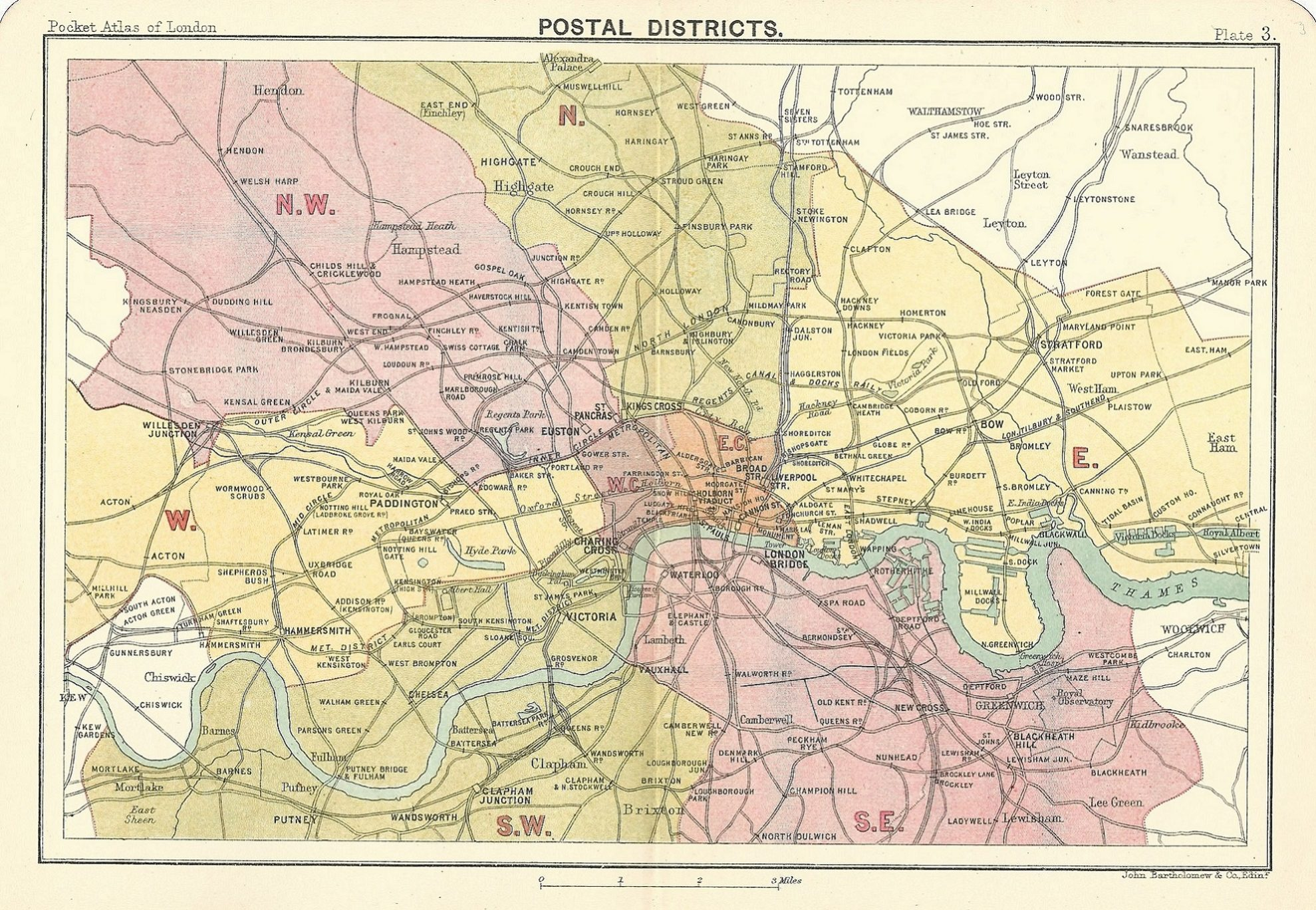 London Map Districts.Postal District Map Of London John Bartholomew 1891 Frontispiece