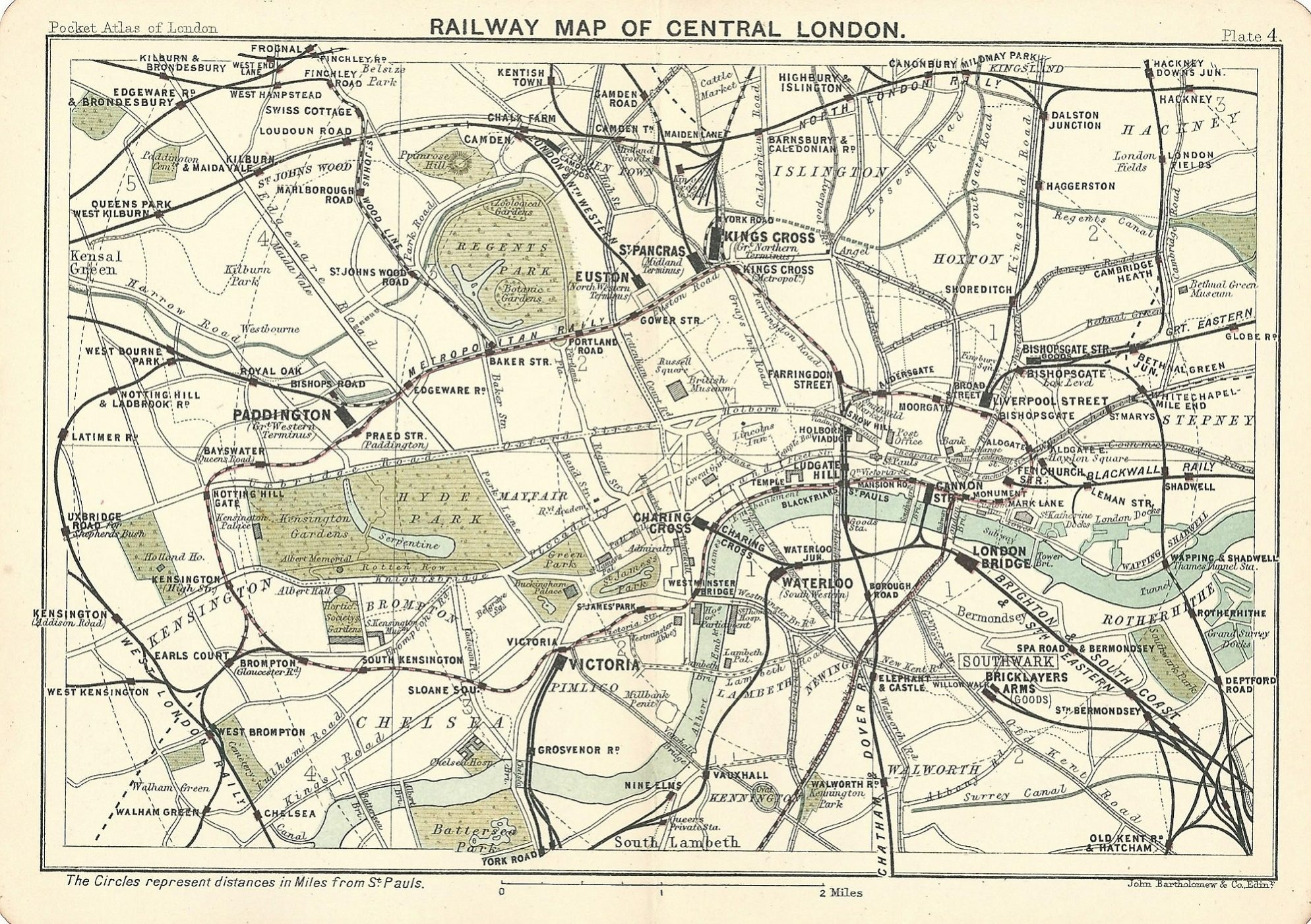 Map Of London Central.Railway Map Of Central London Published 1891