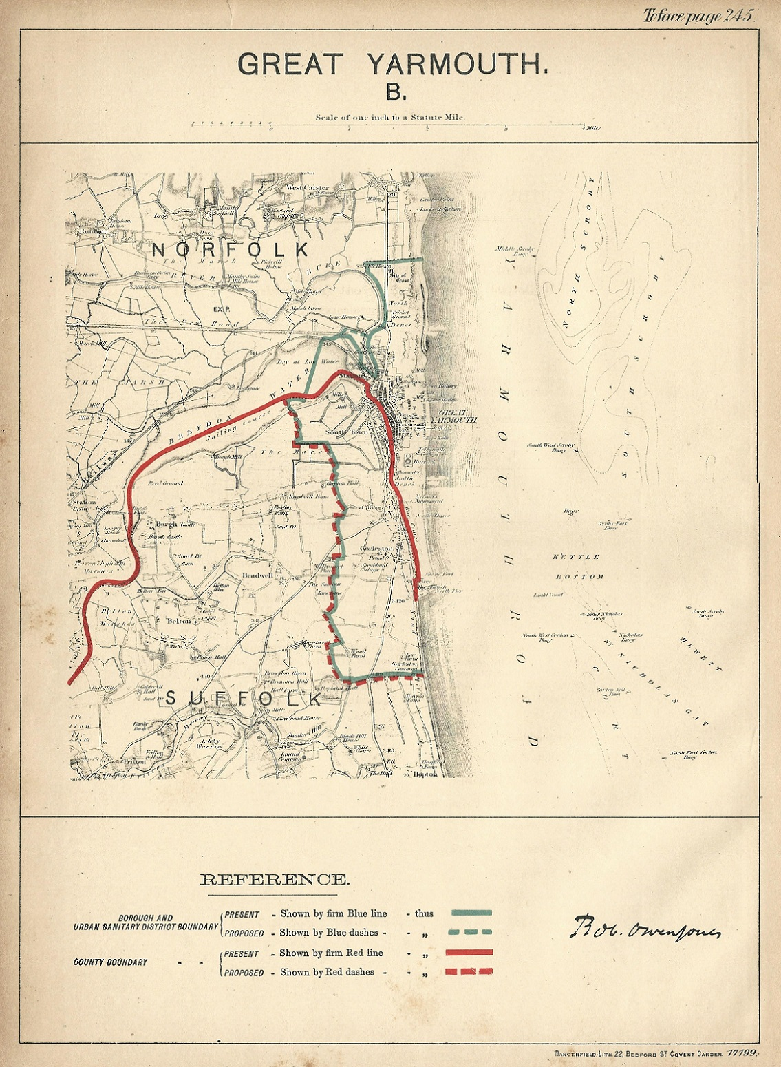 Great Yarmouth antique map Ordnance Survey 1888