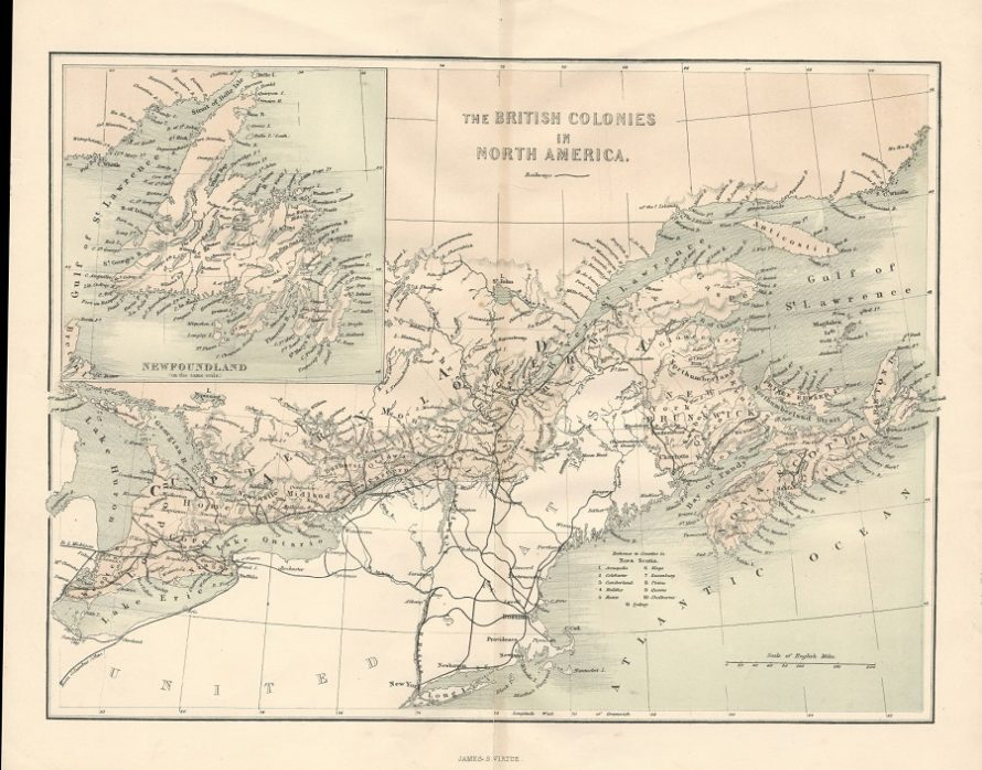 Antique Map Of North America.Canada And Newfoundland British Colonies Antique Map Frontispiece